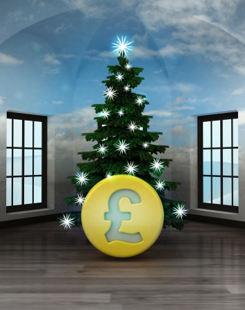 heavenly room with Pound coin under glittering xmas tree illustration illustration