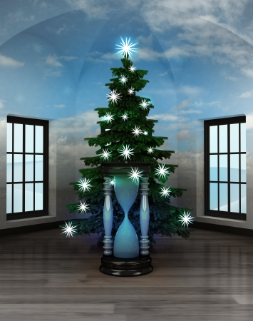 heavenly room with hourglass under glittering xmas tree illustration illustration