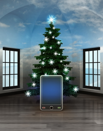 heavenly room with new smart phone under glittering xmas tree illustration illustration