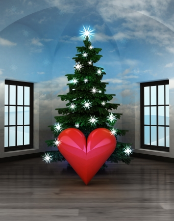 heavenly room with love happiness under glittering xmas tree illustration illustration