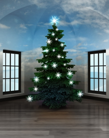 heavenly room with sky vault and glittering xmas tree illustration illustration