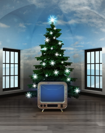 christmas movies: heavenly room with retro television under glittering xmas tree illustration
