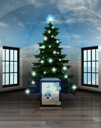 heavenly room with magic vault under glittering xmas tree illustration illustration