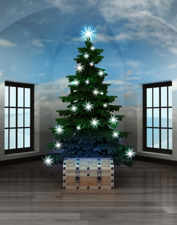 heavenly room with magic chest under glittering xmas tree illustration illustration