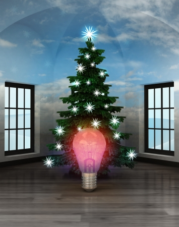 heavenly room with red shiny bulb under glittering xmas tree illustration illustration