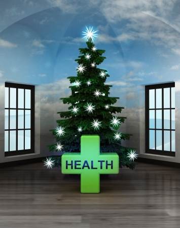 heal new year: heavenly room with health cross under glittering xmas tree illustration