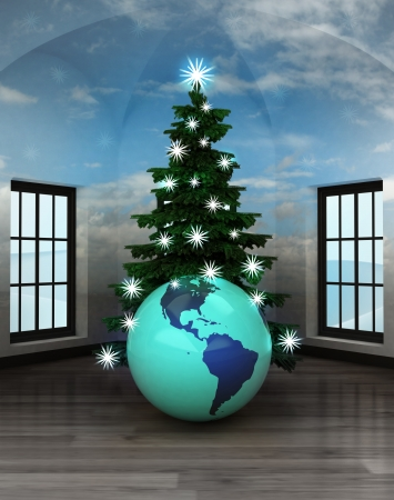 heavenly room with America world globe under glittering xmas tree illustration illustration