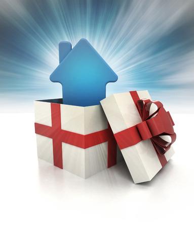 misterioso dono magico con l'icona della casa blu all'interno cielo offuscata illustrazione photo