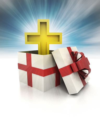 godness: mysterious magic gift with golden cross inside sky blurred illustration Stock Photo