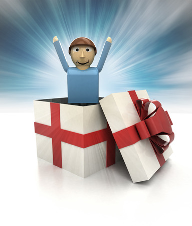 mysterious magic gift with happy man figure inside sky blurred illustration illustration