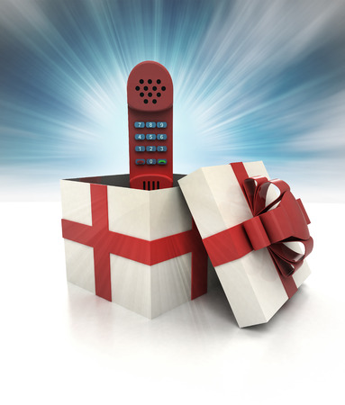 mysterious magic gift with retro red hand phone sky blurred illustration illustration