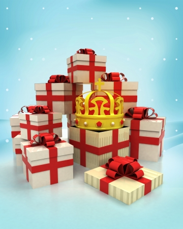 christmas gift boxes with royal crown surprise at winter snowfall illustration illustration