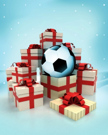 christmas gift boxes with soccer ball surprise at winter snowfall illustration illustration