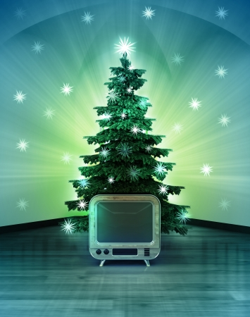space television: heavenly space with retro television under glittering xmas tree illustration Stock Photo