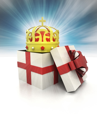 mysterious magic gift with royal crown inside sky blurred illustration illustration