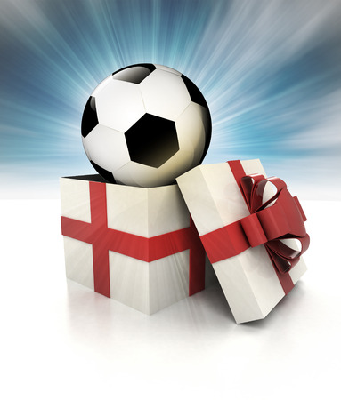 mysterious magic gift with football ball inside sky blurred illustration illustration