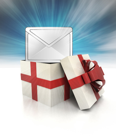 mysterious magic gift with important email information sky blurred illustration illustration