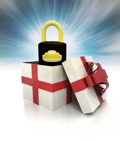 mysterious magic gift with security padlock sky blurred illustration illustration