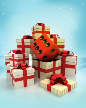 christmas gift boxes with lucky dice surprise at winter snowfall illustration illustration