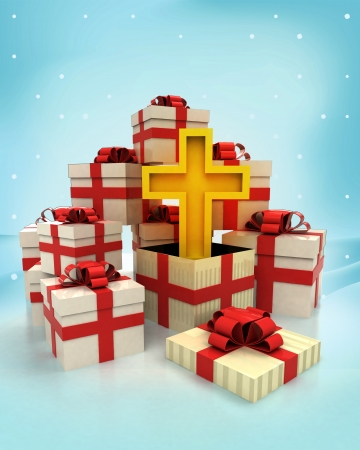 godness: christmas gift boxes with golden cross surprise at winter snowfall illustration