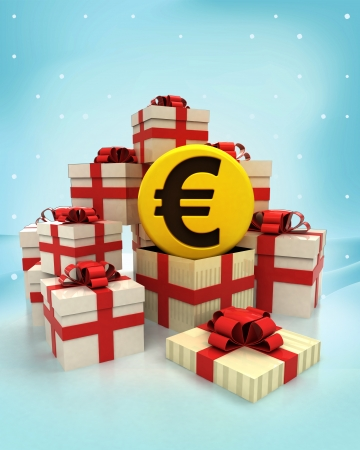 christmas gift boxes with Euro coin surprise at winter snowfall illustration Stock Photo
