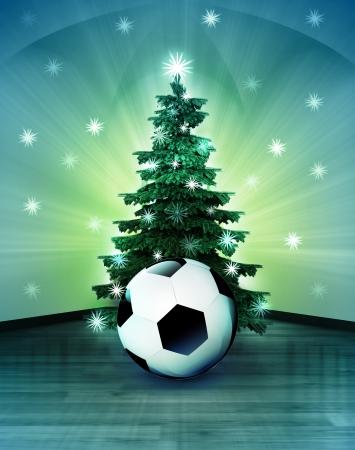 estrella de navidad: espacio celestial con bal�n de f�tbol bajo el �rbol de Navidad reluciente ilustraci�n