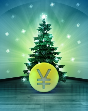 yuan: heavenly space with Yuan coin under glittering xmas tree illustration