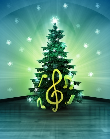 holiday music: heavenly space with holy sound under glittering xmas tree illustration