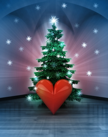 heavenly space with love happiness under glittering xmas tree illustration illustration