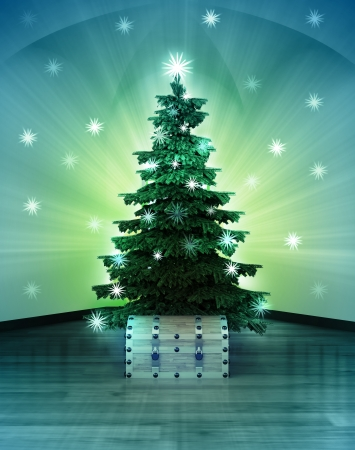 heavenly space with magic chest under glittering xmas tree illustration Stock Photo