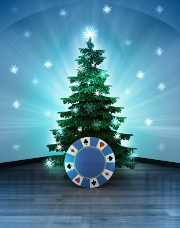 heavenly space  with poker chip under glittering xmas tree illustration Stock Photo