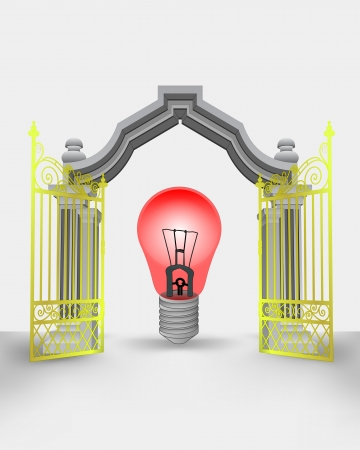 golden gate entrance with red warning bulb vector illustration Vector