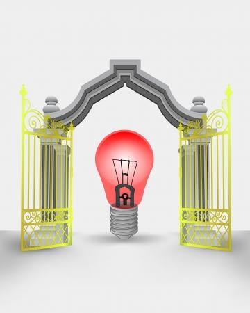 golden gate entrance with red warning bulb vector illustration Illustration