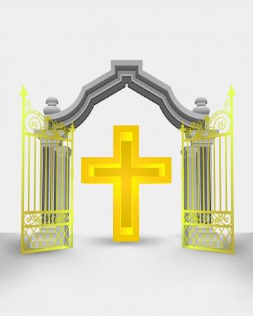 golden gate entrance with holy cross vector illustration Illustration