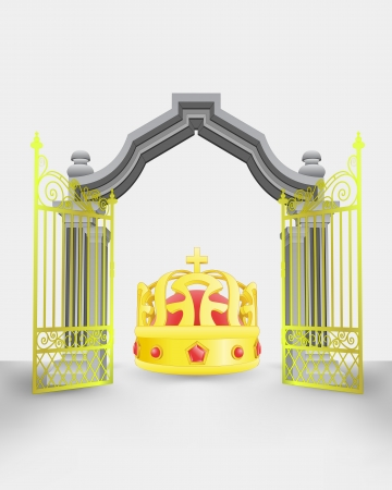 golden gate entrance with royal crown vector illustration Vector