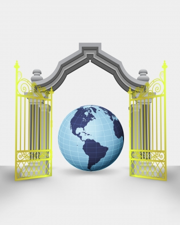 golden gate entrance with America earth globe vector illustration Vector
