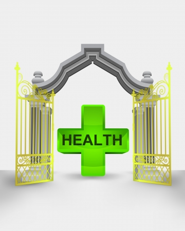 succes: golden gate entrance with health cross vector illustration