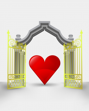 golden gate entrance with red heart vector illustration Vector