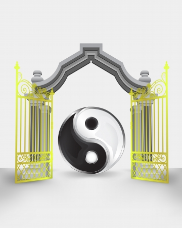 golden gate entrance with yin and yang harmony vector illustration Vector