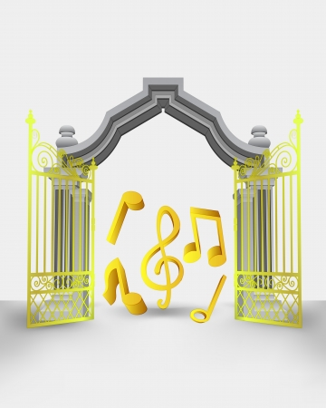gospel music: golden gate entrance with music sound vector illustration