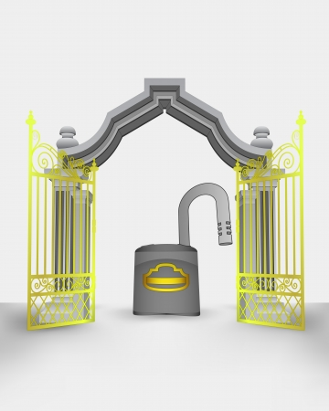 golden gate entrance with opened padlock vector illustration Vector