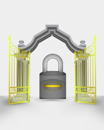 golden gate entrance with closed padlock vector illustration Vector