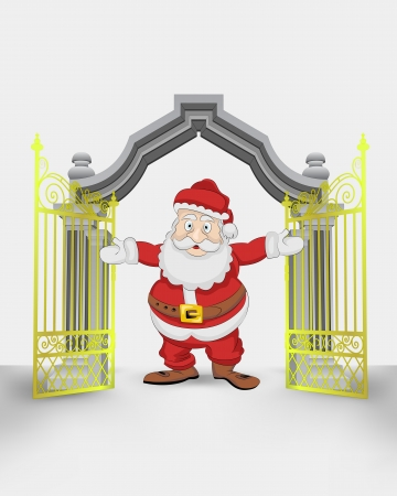 golden gate entrance with Santa Claus welcome vector illustration Vector