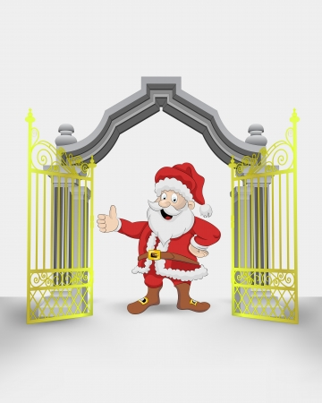 golden gate entrance with happy Santa Claus vector illustration Vector