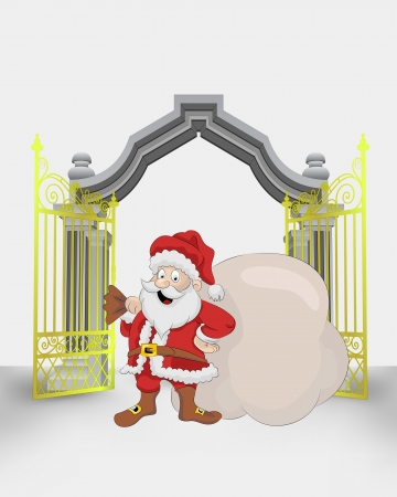 golden gate entrance with Santa Claus with bag vector illustration Vector