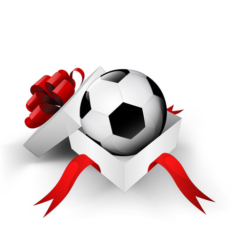 red ribbon wrapped box with soccer ball inside vector illustration Vector