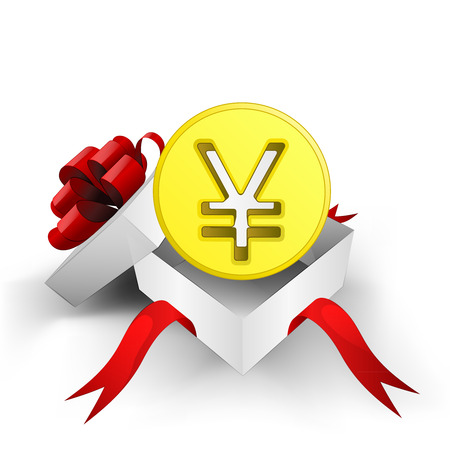 yuan: red ribbon wrapped box with Yuan golden coin inside vector illustration