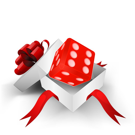 red ribbon wrapped box with lucky red dice inside vector illustration Vector
