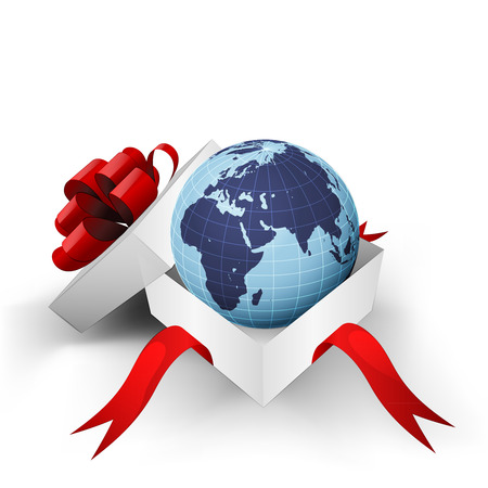 red ribbon wrapped box with Africa world globe inside vector illustration Vector