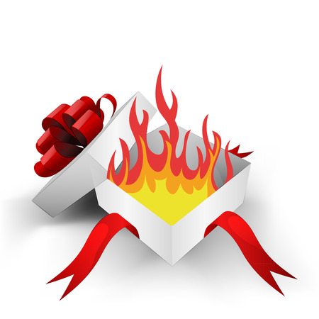 open flame: red ribbon wrapped box with open fire inside vector illustration